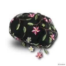 画像1: お花刺繍すみません(黒) (1)