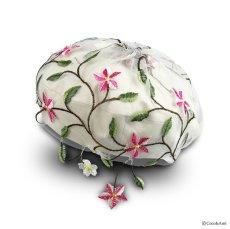 画像1: お花刺繍すみません(白) (1)