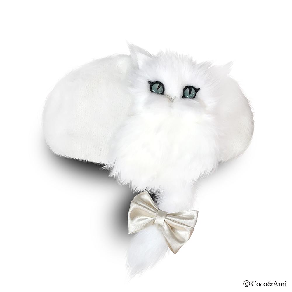 画像1: 猫かぶらニャいと!ベレー(ホワイト) (1)